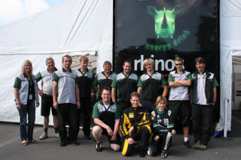 Ingo and Martina Leipert and their professional rhinos team. In front the formel gloria guest starters Jackie Weiss and Christian Wangard